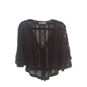 Pretty Angel Women's Lace ruffle Belle Sleeve Cover up Brown Size M